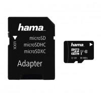 Card microSDHC Hama, capacitate 32 GB, clasa viteza 10, adaptor inclus