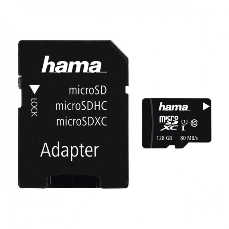 Card microSDXC Hama, capacitate 128 GB, clasa viteza 10, adaptor inclus 2021 shopu.ro