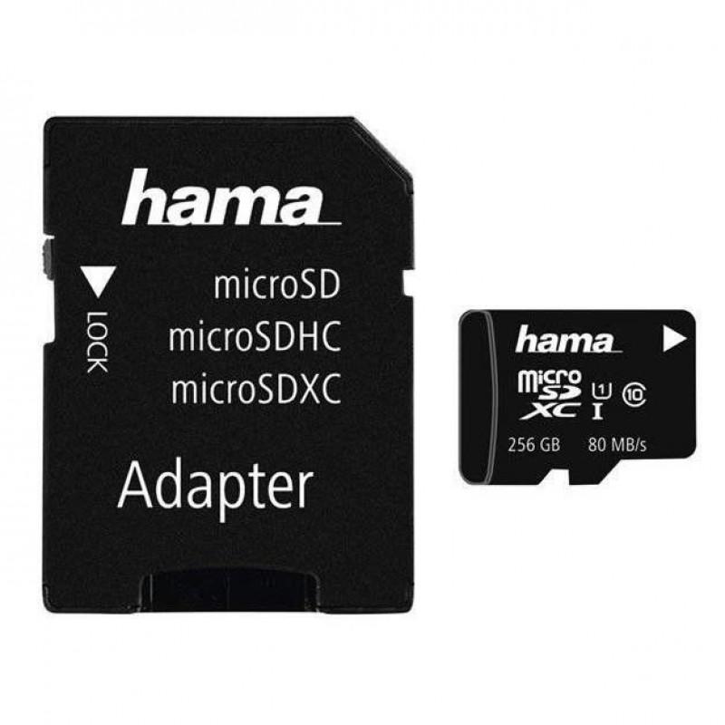 Card microSDXC Hama, capacitate 256 GB, clasa viteza 10 UHS, adaptor inclus 2021 shopu.ro