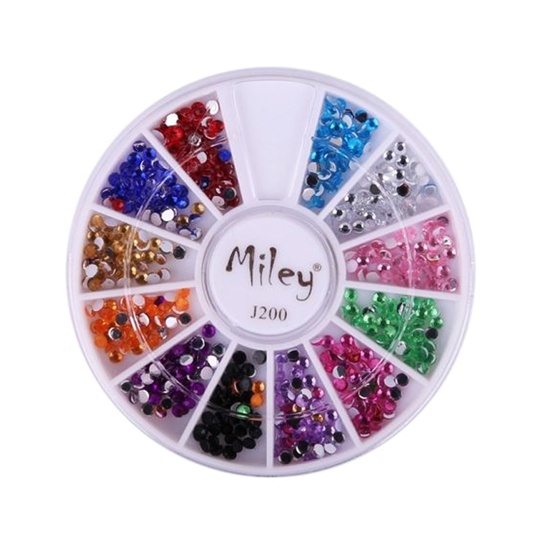 Carusel decor pentru unghii J200, model cristale multicolore