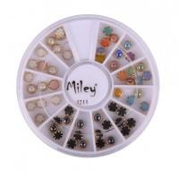 Carusel decor pentru unghii J211, model perle colorate