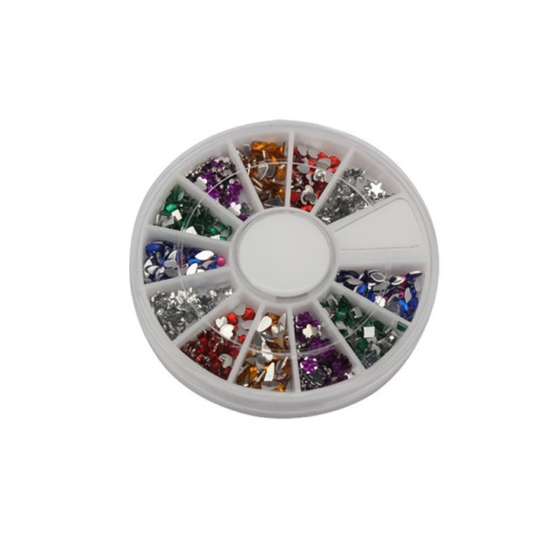 Carusel strasuri pentru unghii, 12 culori