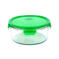 Caserola rotunda din sticla Peterhof PH-10086, 740 ml, verde
