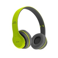 Casti audio bluetooth P47, 10 m, radio, suport card SD, microfon, Verde/Negru