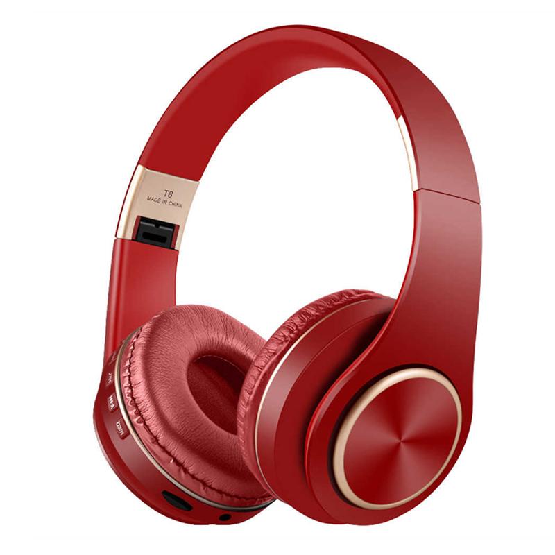 Casti audio bluetooth T8, 10 m, microfon, 300 mAh, Rosu 2021 shopu.ro