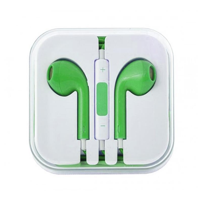 Casti iphone cu microfon, volum pe fir, verde 2021 shopu.ro