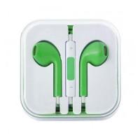 Casti iphone cu microfon, volum pe fir, verde