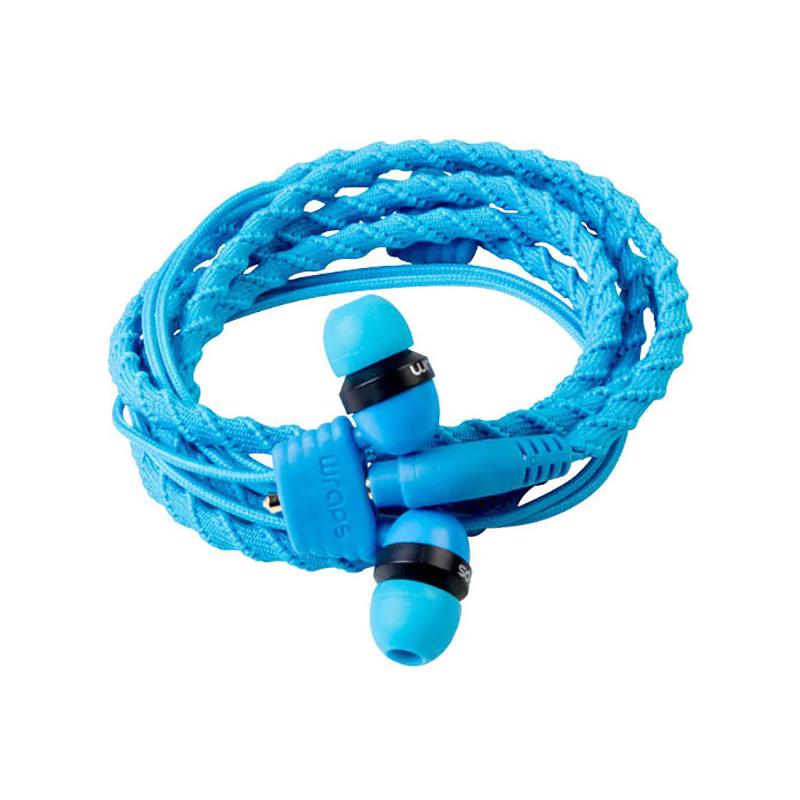 Casti Classic Wraps, cu fir, jack 3.5 mm, cablu textil, microfon, Albastru 2021 shopu.ro