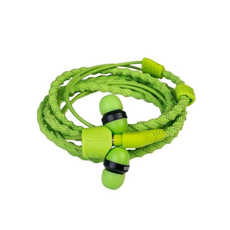 Casti Talk Wraps, cu fir, jack 3.5 mm, microfon, Verde
