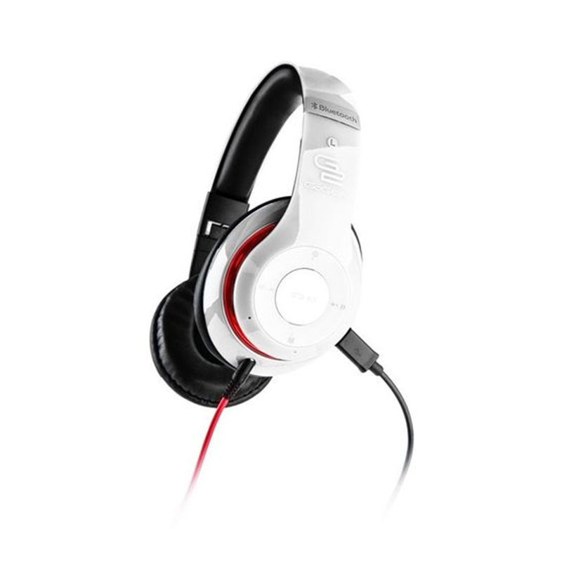 Casti audio GoGen, 30 mW, 500 mAh, Bluetooth 3.0, radioFM, microfon incorporat, Alb/Rosu 2021 shopu.ro