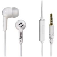 Casti audio in-ear Hama, cu fir, plastic, 10 mm, 1.2 m, Alb