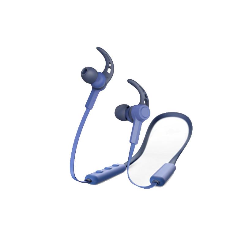 Casti bluetooth Connect Hama, in ear, microfon, carlige ureche, cablu plat, Albastru 2021 shopu.ro