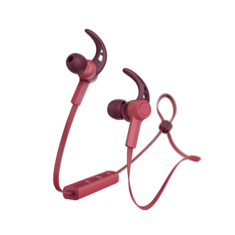 Casti bluetooth Connect Hama, in ear, microfon, carlige ureche, cablu plat, Rosu 2021 shopu.ro