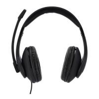 Casti cu microfon Hama, mufa USB-A, banda reglabila, telecomanda inclusa, Negru