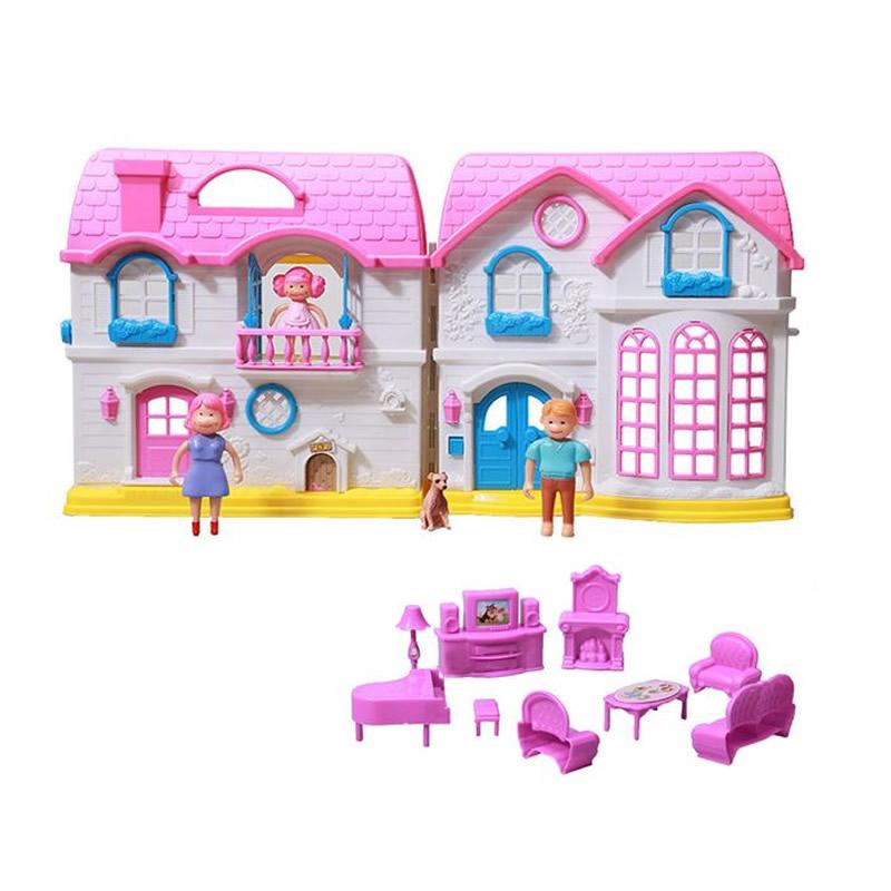 Casuta cu papusi Dreamy Dollhouse, 13 accesorii, multicolor 2021 shopu.ro