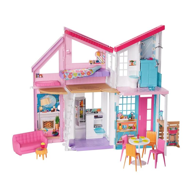 Casuta pentru papusi Barbie Malibu Mattel, 61 cm, 25 piese, 3 ani+