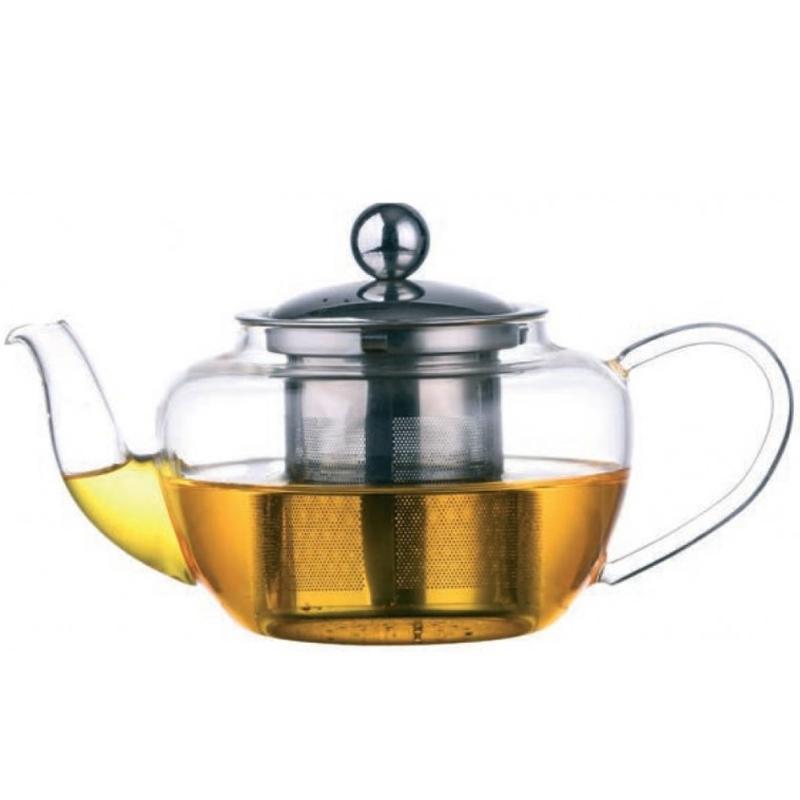 Ceainic Tea Time DelCaffe, 450 ML, sticla borosilicata, capac, infuzor inox 2021 shopu.ro