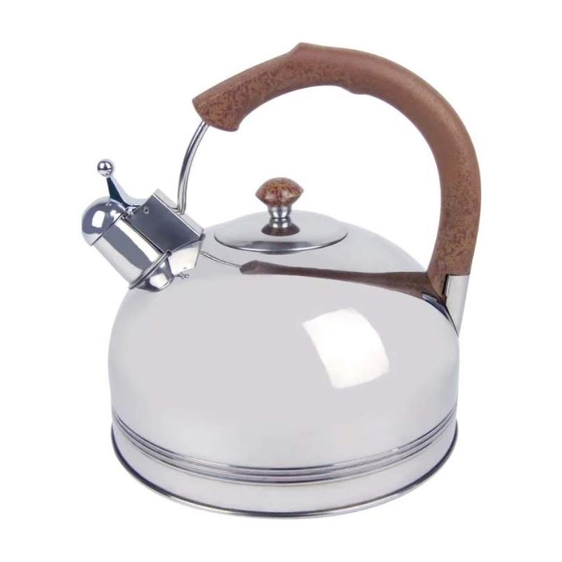 Ceainic inox cu fluier Bohmann, 3 l, avertizare sonora, Argintiu/Maro 2021 shopu.ro