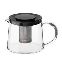 Ceainic sticla termorezistenta, capac plastic, capacitate 0.6 l