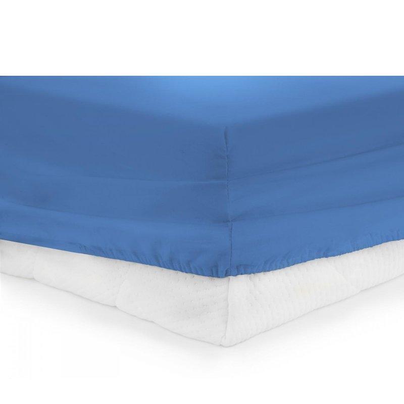 Cearceaf Pat Heinner, 160 x 200 cm, bumbac, densitate 144 TC, elastic, Albastru shopu.ro