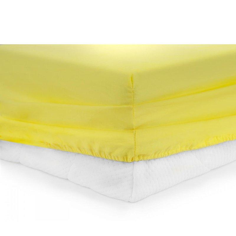 Cearceaf Pat Heinner, 180 x 200 cm, bumbac, densitate 144 TC, elastic, Galben shopu.ro