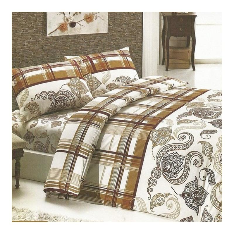 Cearceaf de pat cu elastic Sweet Denise Studio Casa, 180 x 200 cm, bumbac, Bej/Maro 2021 shopu.ro