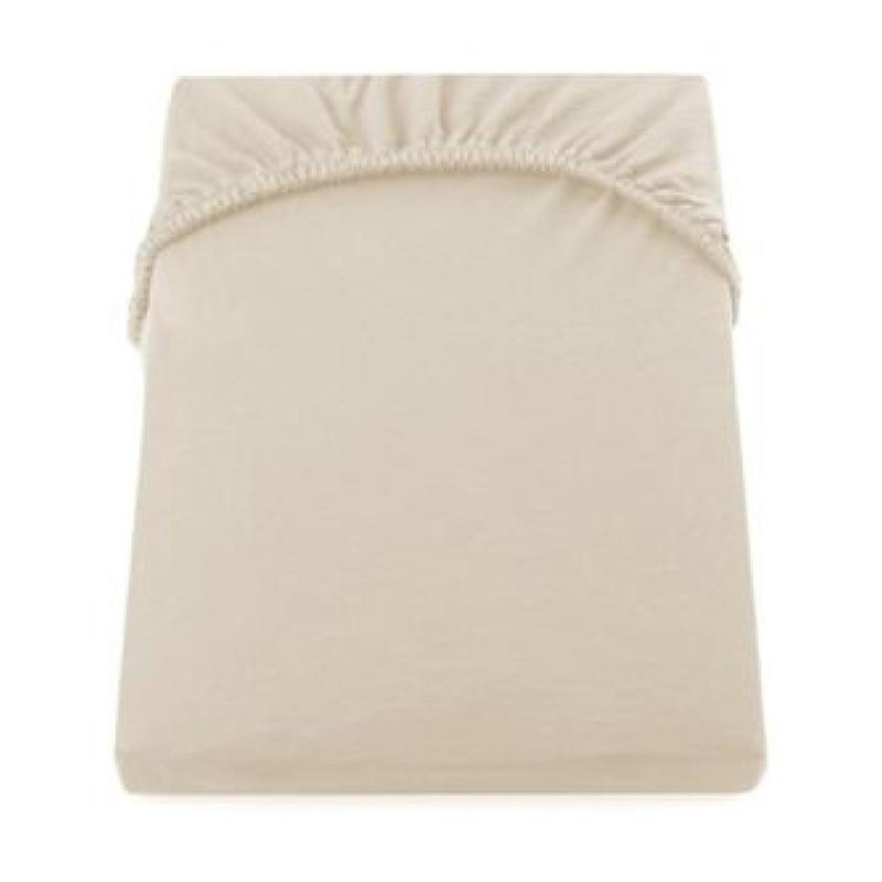 Cearceaf de pat cu elastic Yuny Mally Home, 160 x 200 + 28 cm, bumbac, Crem