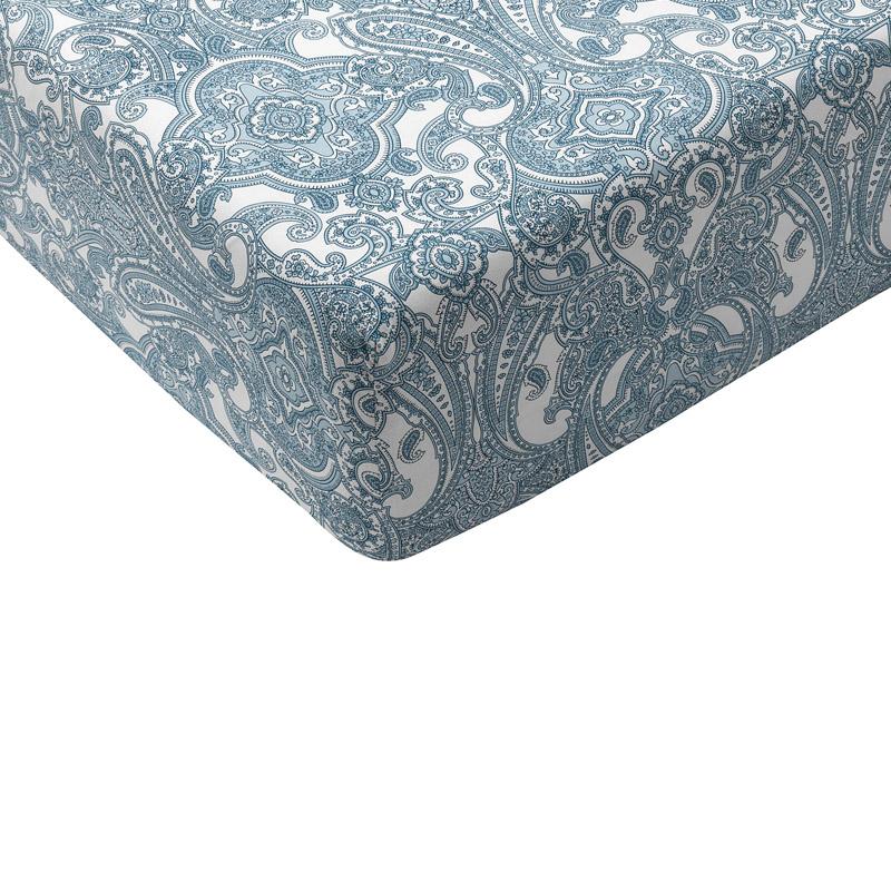 Cearsaf bumbac cu elastic, 180 x 200 cm, Bleu/Alb 2021 shopu.ro