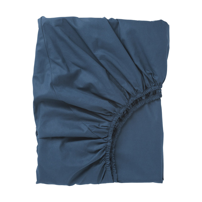 Cearsaf bumbac cu elastic, tesatura densa, 90 x 200 cm, Bleumarin 2021 shopu.ro
