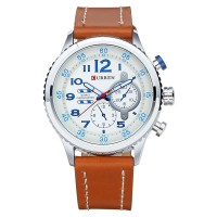Ceas Curren Casual White & Brown, piele ecologica