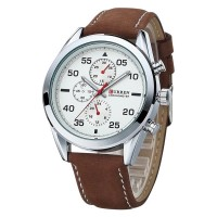 Ceas Curren Military White Dial, piele ecologica