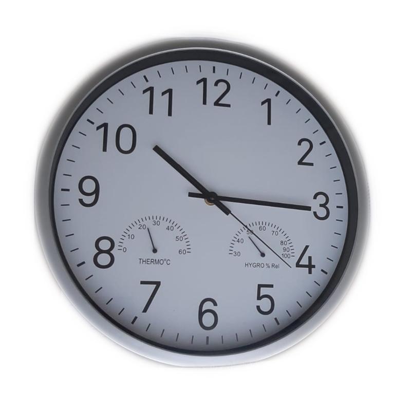 Ceas cu higrometru si termometru, 36 cm, Argintiu 2021 shopu.ro