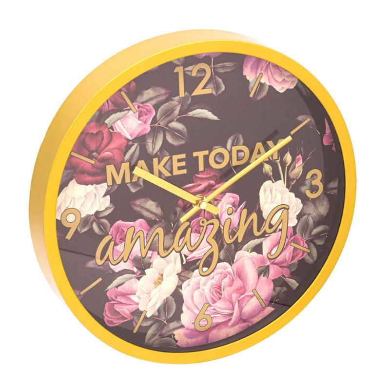 Ceas de perete Make Today Amazing, 30 x 4 cm, model floral 2021 shopu.ro