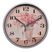 Ceas de perete, 22.5 cm, imprimeu trandafiri