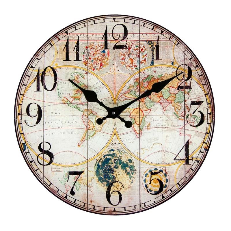 Ceas decorativ de perete, 30 cm, model harta lumii, multicolor 2021 shopu.ro