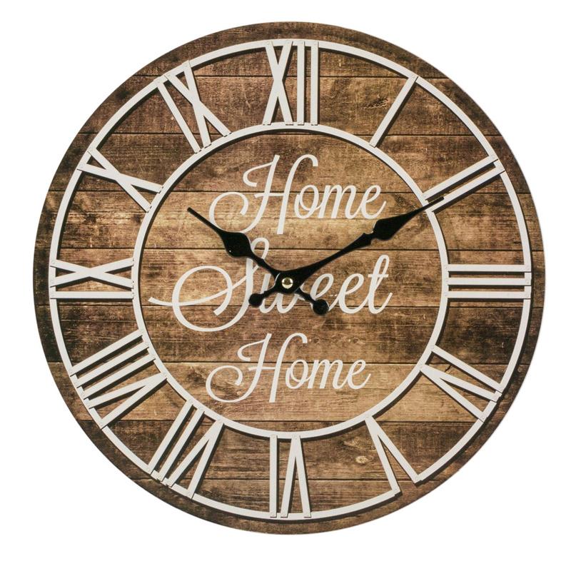 Ceas decorativ de perete, 34 cm, mesaj Home Sweet Home 2021 shopu.ro