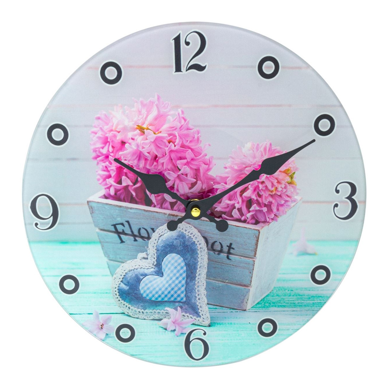 Ceas decorativ pentru perete, 30 cm, model floral 2021 shopu.ro