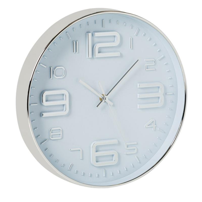 Ceas decorativ pentru perete Silver, 30 cm, plastic, Argintiu 2021 shopu.ro