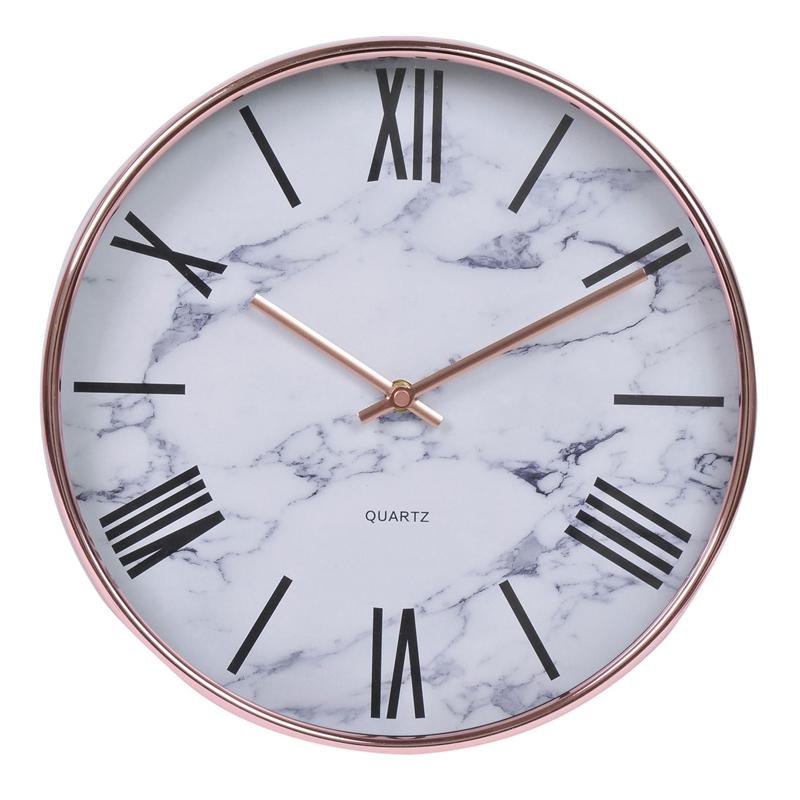 Ceas decorativ pentru perete, 31 cm, imprimeu stil marmura 2021 shopu.ro
