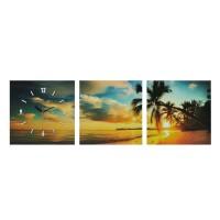 Ceas decorativ tip tablou Beach, 30 x 90 cm, model apus