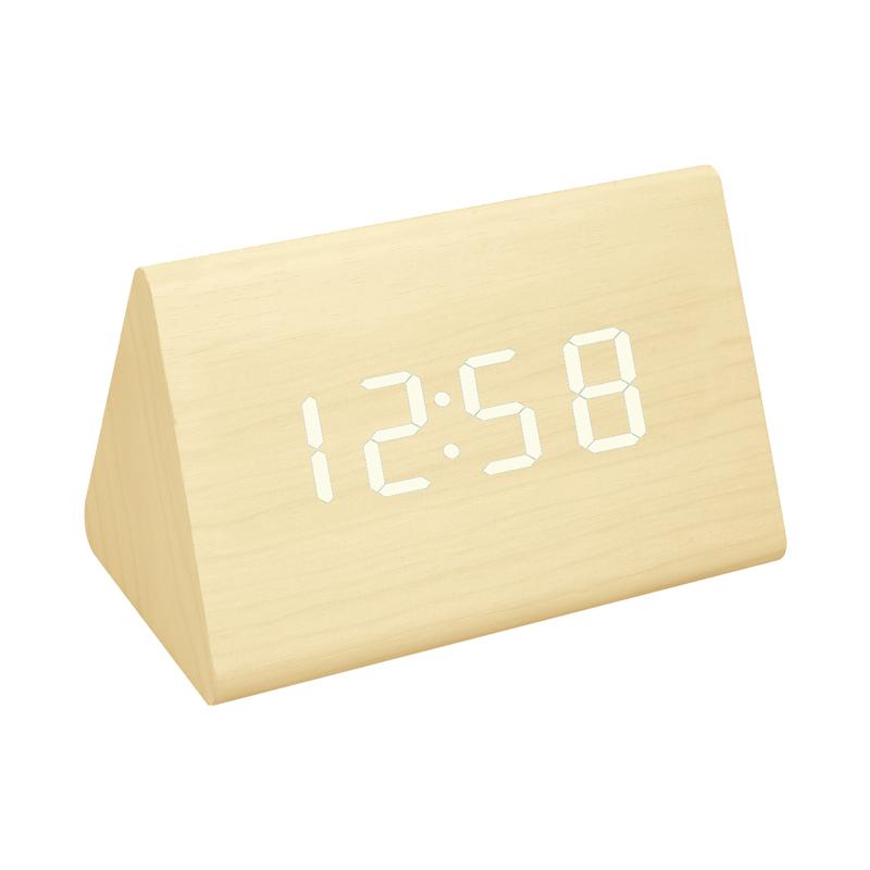 Ceas digital lemn VST-864, alarma, LED rosu