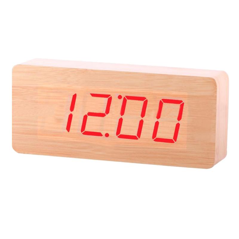 Ceas digital lemn VST-865, LED, alarma, Crem
