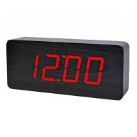 Ceas digital lemn cu alarma, LED rosu, Negru