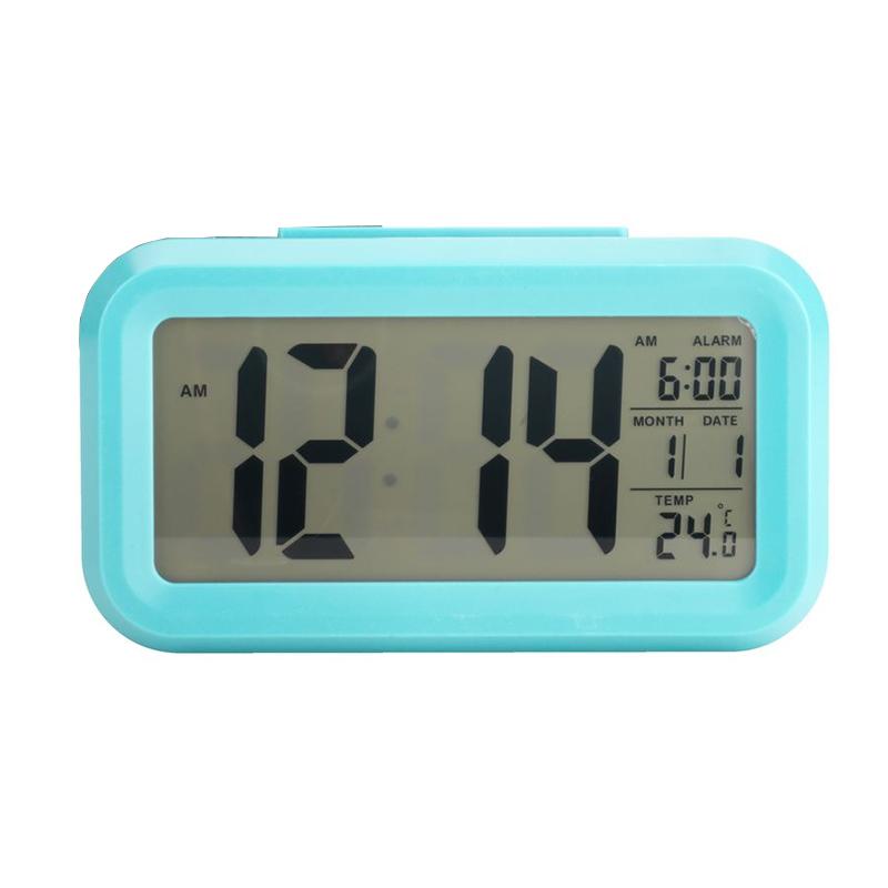 Ceas cu alarma, 14 x 5 x 8 cm, plastic/sticla, Turcoaz