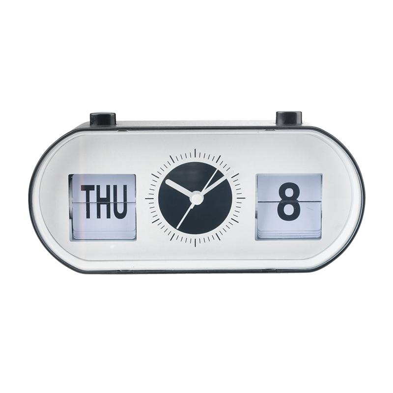 Ceas cu alarma, 19 x 9 x 6 cm, PVC/ABS, Alb/Negru