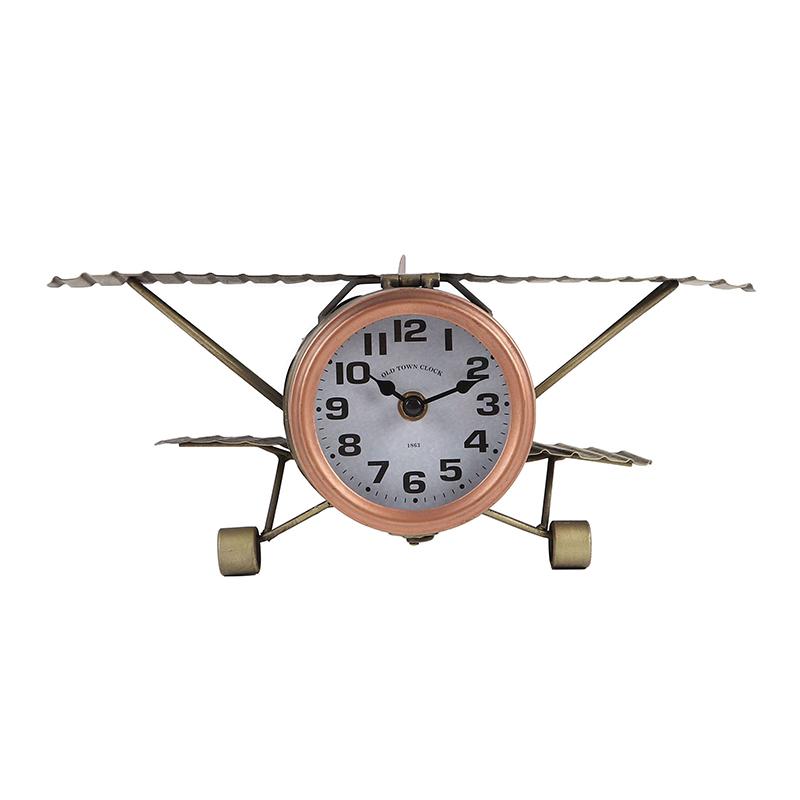 Ceas de birou, 35 x 21 x 14 cm, metal/sticla, model avion, Auriu 2021 shopu.ro