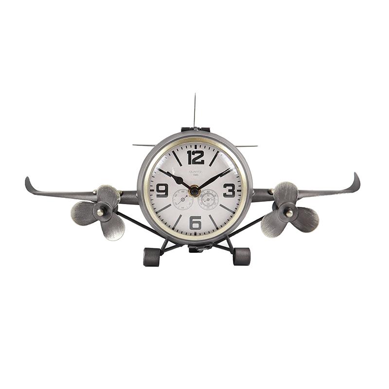 Ceas de birou, 40.5 x 16 x 19 cm, metal/sticla, model avion, Argintiu 2021 shopu.ro