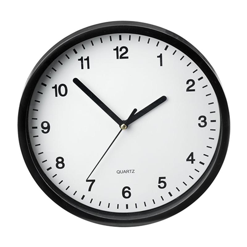 Ceas de perete, 23 x 4 cm, plastic/sticla, Negru/Alb 2021 shopu.ro