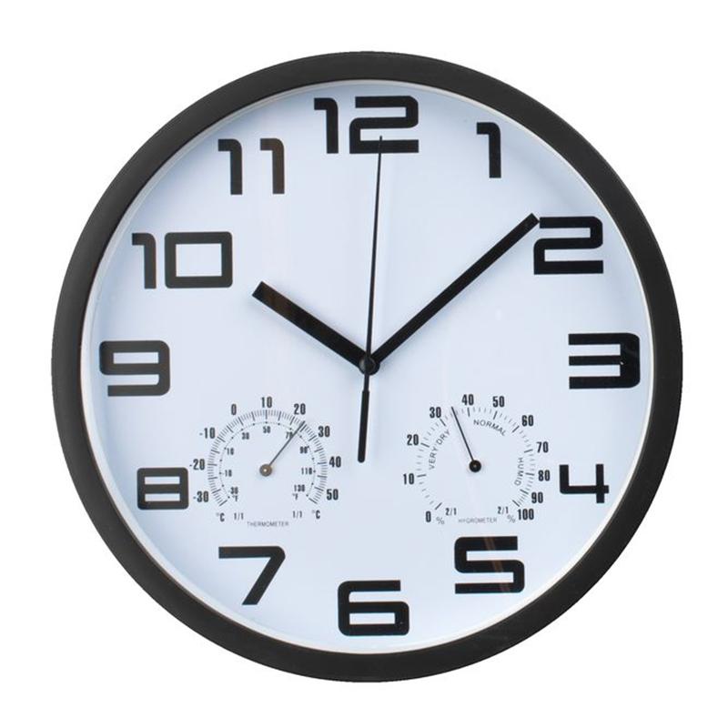 Ceas de perete, 25 cm, aluminiu/sticla/polipropilena, Alb/Negru 2021 shopu.ro