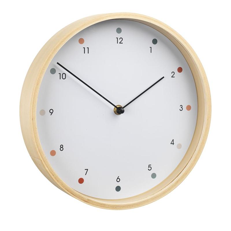 Ceas de perete, 26 cm, sticla/lemn, Bej/Alb 2021 shopu.ro
